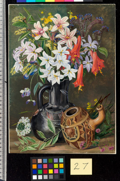 27. Chilian Lilies and other Flowers in Black Jug and ornamented. © RBG KEW
