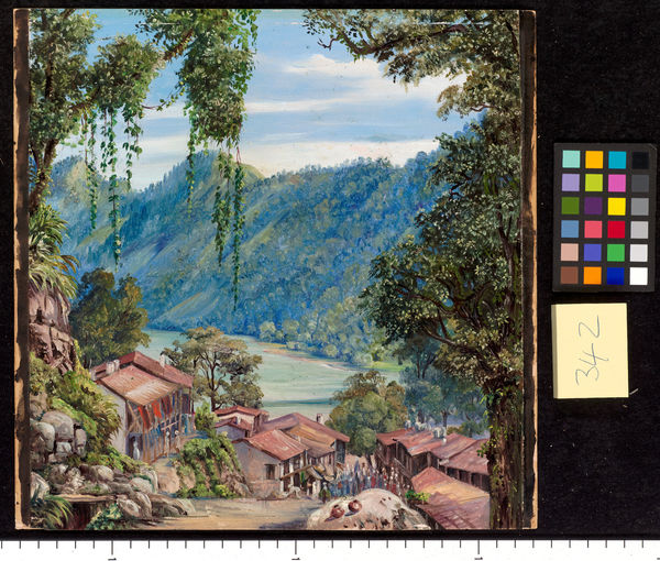 342. Looking down the Bazaar and Lake of Nynee Tal, Kumaon, Nort. © RBG KEW