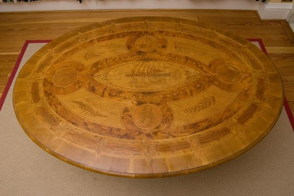 The Larkworthy Table - made from New Zealand woods, and inlaid with 37 species of New Zealand ferns. Table was exhibited at the Colonial and Indian Exhibition in London in 1886.. © RBG KEW