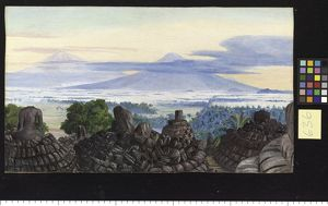636. The Volcanoes of Merapi and Marbaboe, Java, from the top of Boro Bodoer