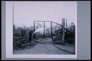 Burnt remains of the Refreshment Pavilion, Kew Gardens, 1913