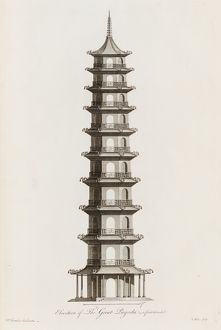 Elevation of the Great Pagoda as first intended