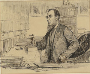 Joseph Dalton Hooker at work in his office, 1896