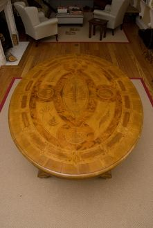 The Larkworthy Table - made from New Zealand woods, and inlaid with 37 species of New Zealand ferns. Table was exhibited at the Colonial and Indian Exhibition in London in 1886.