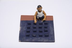 Model of indigo block maker, India