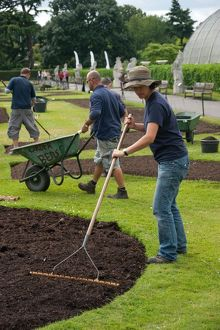 Preparing the soil for Palm House bedding plants