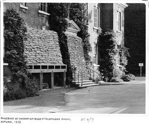 Sandbags outside the Herbarium, Kew, 1939