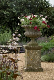 Stone urn with flowers