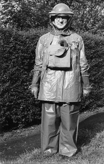 William Turrill in gas protection suit, spring 1940