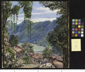 342. Looking down the Bazaar and Lake of Nynee Tal, Kumaon, Nort