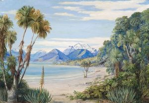 723. View of Mount Earnshaw from the Island in Lake Wakatipe, New Zealand
